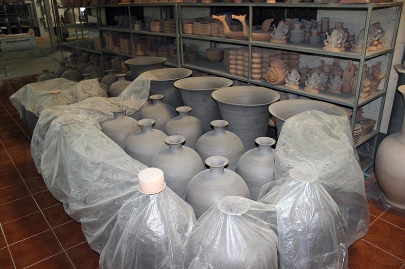 Some large vases slowly drying.