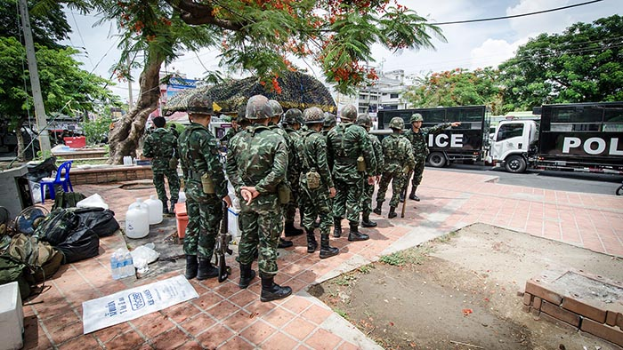 Soldiers outside of Chang Phueak Gate, Chiangmai